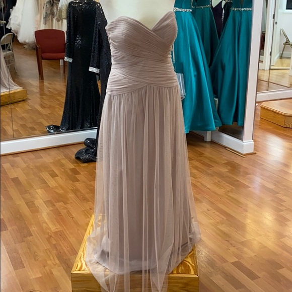 Dessy Collection Dresses & Skirts - Taupe full length strapless bridesmaid dress